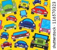 Abstract colorful funny cars print background. Seamless pattern. Vector - stock vector