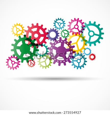Abstract colorful gears with shadow - vector illustration - stock vector