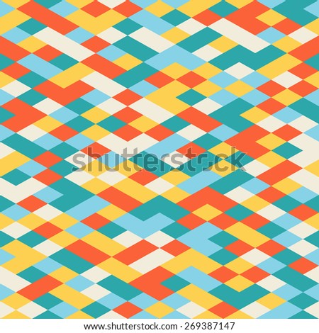Abstract Colorful Geometric Seamless Pattern. Modern Flat Isometric Background. Vector Template Random Colored Decorative Texture. - stock vector