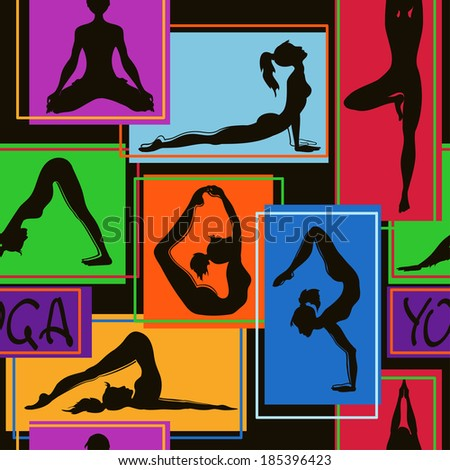 Abstract colorful geometric seamless pattern of yoga poses - stock vector