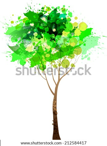Abstract colorful green tree. Vector  illustration - stock vector