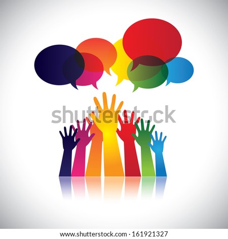 abstract colorful hands of people requesting help, assistance. This vector graphic also represents person seeking love, care, aid, soccour, support, etc - stock vector