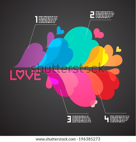abstract colorful heart background with text space, Love Concept,Vector eps10 - stock vector