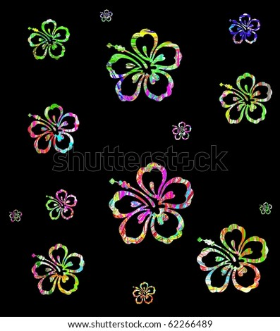 Abstract Colorful Hibiscus Flower on black background - stock vector