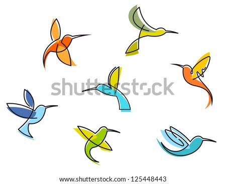 Abstract colorful hummingbirds set isolated on white background, such as idea of logo. Jpeg version also available in gallery - stock vector