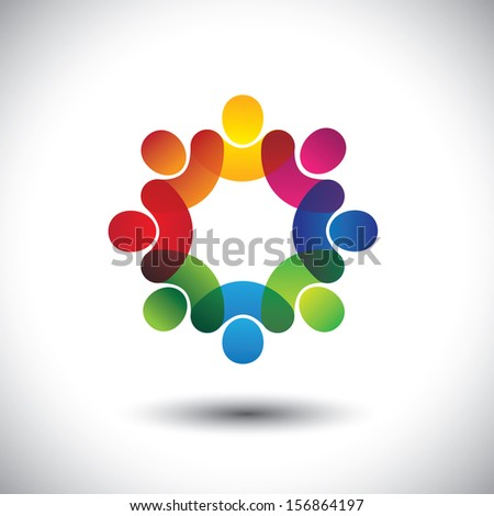 Abstract colorful icons of children or kids in school standing in circle. This vector graphic also represents concept of employees or workers meeting, workers union, executive staff discussions, etc - stock vector