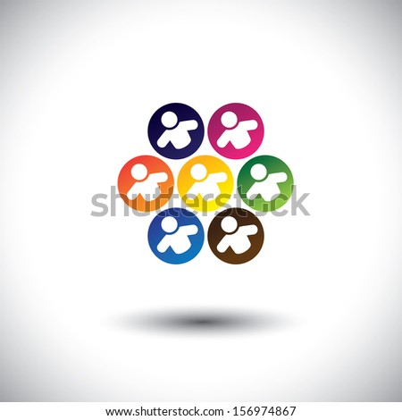 Abstract colorful icons of children or kids playing games in circle. This vector graphic also represents concept of children in school, team of employees, office colleagues & staff, etc - stock vector