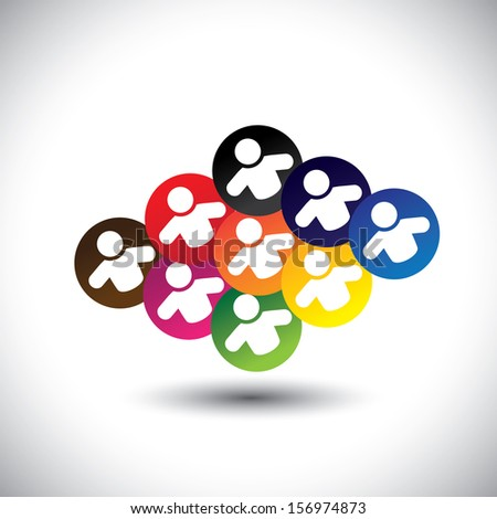Abstract colorful icons of children or kids playing games in school. This vector graphic also represents concept of employees or workers meeting, team work & unity, office colleagues & staff, etc - stock vector