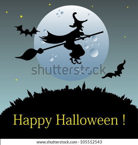 Abstract colorful illustration with a mean witch flying on a broom in the light of the full moon - stock vector