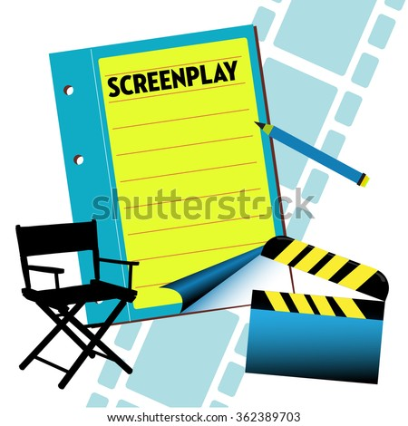 Abstract colorful illustration with a screenplay notebook, director chair, clapboard and filmstrip. Film screenplay theme - stock vector