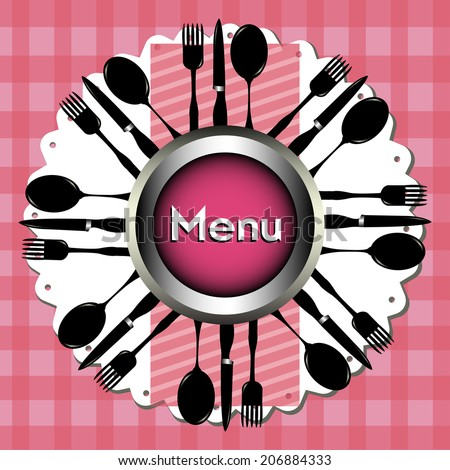 Abstract colorful illustration with forks, spoons, knives and a plate in the middle of the image. Menu concept - stock vector