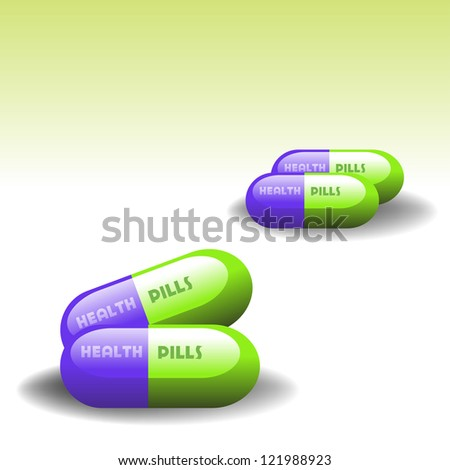 Abstract colorful illustration with four health pills grouped two by two - stock vector