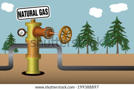 Abstract colorful illustration with gas processing plant with pipeline valve and a sign with the text natural gas - stock vector