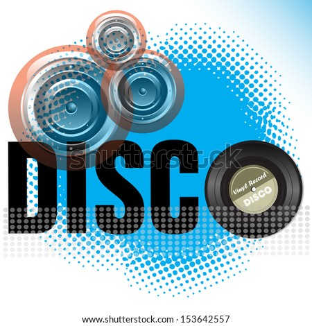 Abstract colorful illustration with loudspeakers, vinyl record and the word disco written with black letters - stock vector