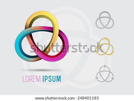Abstract colorful logo design of pink and cyan and yellow flexible wire squiggle shaped. Can be used as a symbol of stretching property - stock vector