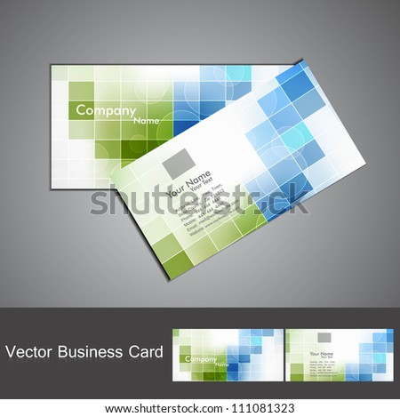 abstract colorful mosaic business card set design - stock vector