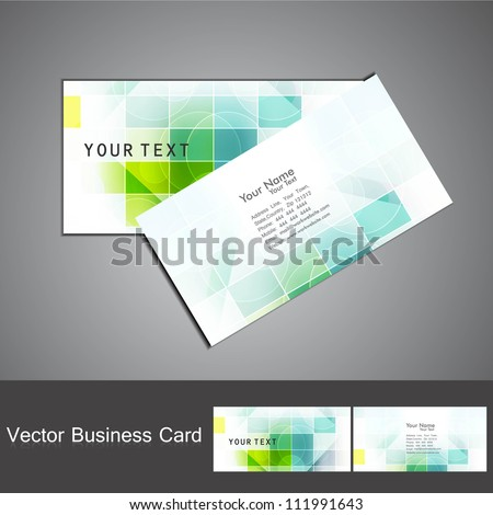 abstract colorful mosaic business card set design vector - stock vector