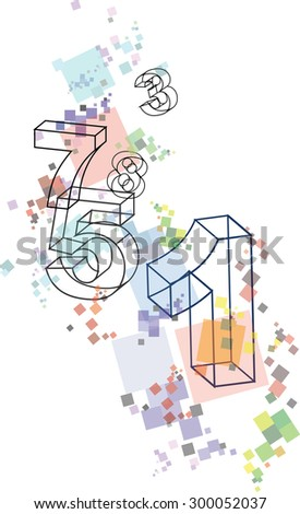 abstract colorful numbers - stock vector