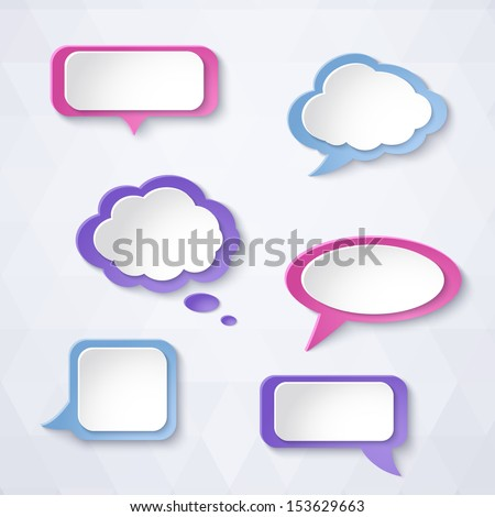 Abstract colorful paper bubbles for speech on a light background. Design elements. Vector illustration. - stock vector