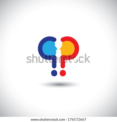 abstract colorful people icons as questions - concept vector. This graphic icon also represents people with opposite ideas, debates, discussions, inquiries, investigations, etc - stock vector