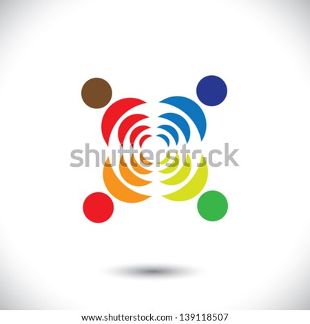 Abstract colorful people symbols showing close relationship. This vector graphic icons can also represent concept of children playing together or friendship or team building or group activity,etc - stock vector