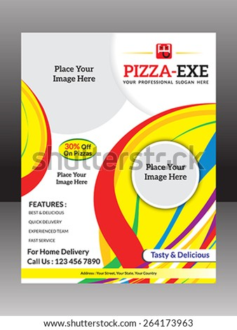 abstract colorful pizza flyer vector illustration  - stock vector