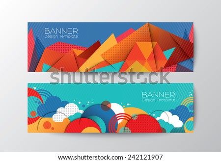 Abstract colorful polygon cloud banner design vector template - stock vector