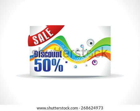 abstract colorful rainbow discount card vector illustration - stock vector