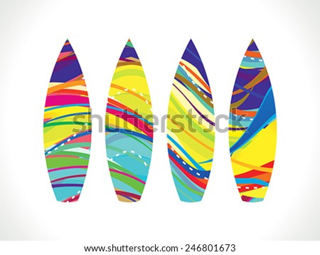 abstract colorful rainbow surf board vector illustration - stock vector
