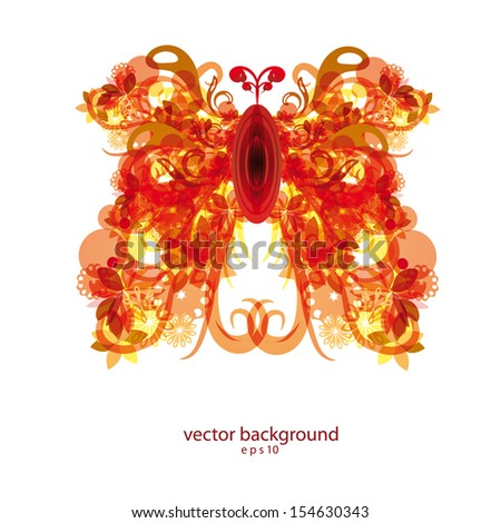 abstract colorful red and gold butterfly . Vector eps10 - stock vector