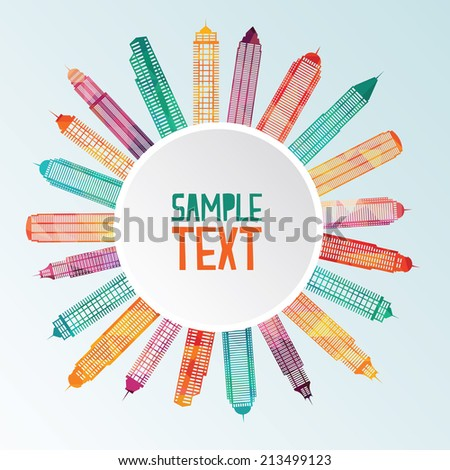 Abstract colorful Skyscrapers. Vector Illustration - stock vector