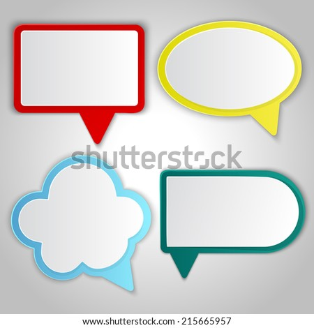 Abstract colorful speech balloons banners with copy space. - stock vector