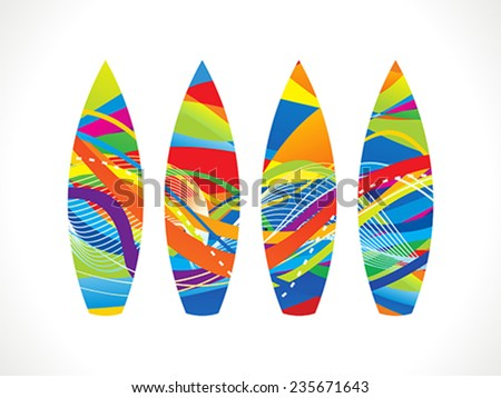 abstract colorful surf board vector illustration - stock vector