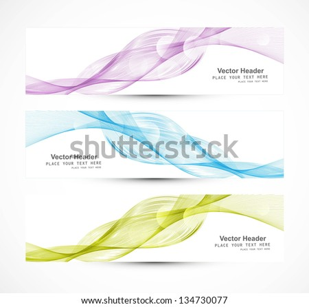 Abstract colorful three header different line wave whit vector illustration - stock vector
