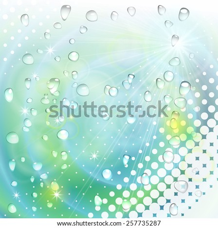 Abstract colorful vector background with water effect and halftone  - stock vector
