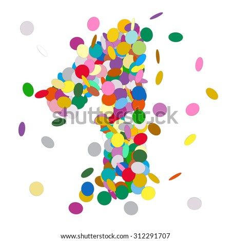 Abstract Colorful Vector Confetti Number One - 1 - Birthday, Party, New Year, Jubilee - Number, Figure, Digit - stock vector