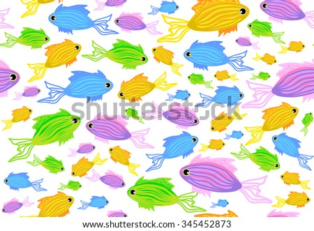 Abstract colorful vector seamless pattern with marine fish. You can use any color of background - stock vector