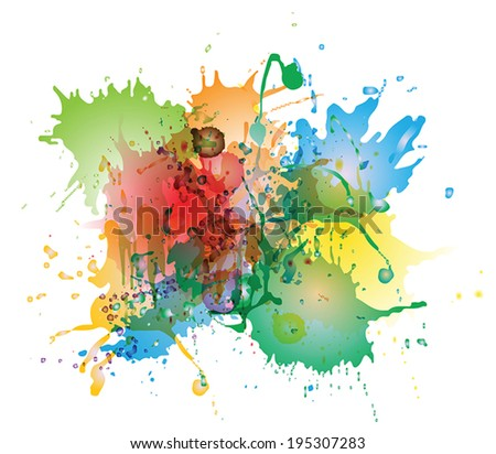 Abstract colorful watercolor splashes isolated on white backgroundcolorful watercolor splashes isolated on white background. EPS 10 vecktor - stock vector