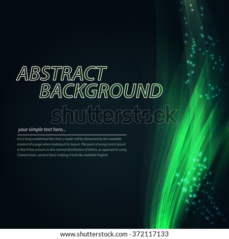 Abstract colorful wave background. Technology style with blend. Moving Colorful Lines on the dark green Background for Poster, Flyer, Cover, Presentation. Vector Rainbow Lines. - stock vector