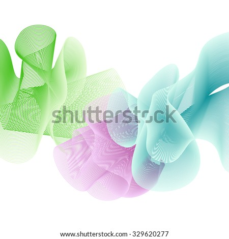 Abstract colourful background of flounced ribbons. EPS 10 vector background isolated on white.  - stock vector