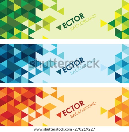 abstract colourful triangle background set - stock vector