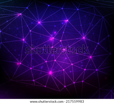 Abstract communication concept net on dark background with glowing dots - stock vector