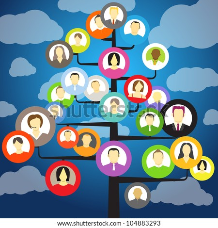 Abstract community tree with avatars of members - stock vector