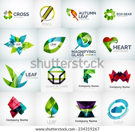 Abstract company logo vector collection - 16 modern various business corporate logotypes - stock vector