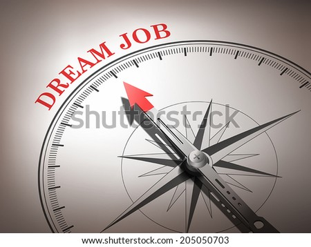 abstract compass needle pointing the word dream job in red and white tones - stock vector