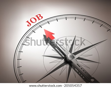abstract compass needle pointing the word job in red and white tones - stock vector