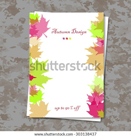 Abstract composition, autumn sale leaflet, maple leaf, white background pattern, EPS 10 vector illustration - stock vector