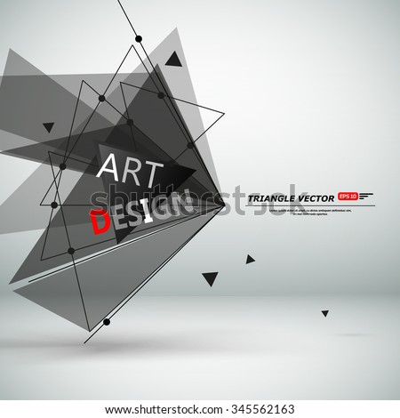 Abstract composition, black flying triangle construction, light static picture, sturtup display, figure theme, lsign texture surface, business backdrop, title sequence, screen saver, EPS10  - stock vector
