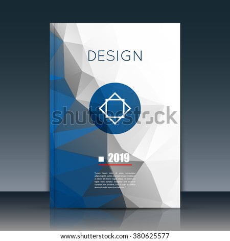 Abstract composition. Blue, white a4 brochure title sheet. Ad figure design. Annual report cover. Creative text frame surface. Firm banner form. Crystal facets. Flyer fiber art. Logo emblem icon.      - stock vector