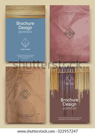 Abstract composition, business card set, bamboo wood structure, crumpled paper sheet, brochure title, pattered parchment correspondence collection, wrinkled papyrus logo construction, EPS 10 vector    - stock vector